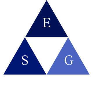 graphic of a triangle made up of 3 blue triangles with a white triangle in the center. Each blue triangle has a letter in the center, E, S, G